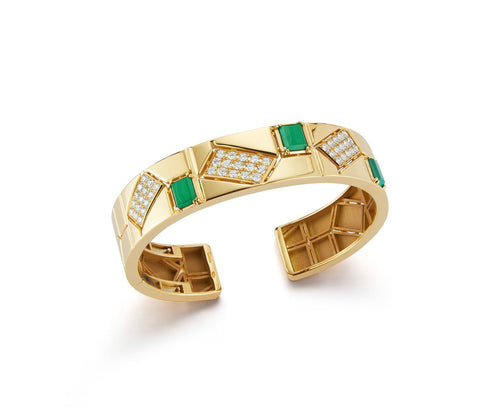Baia Medium Malachite 18K Gold Cuff