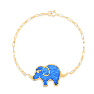 Large Elephant Bracelet in Light Blue Pearlized Enamel Set on an 18 Karat Yellow Gold Chain