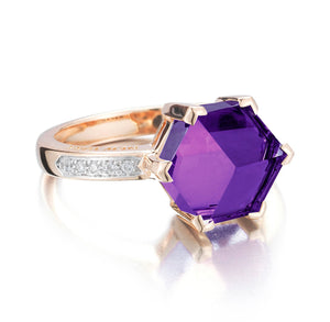 Rose Gold Amethyst Diamond Valentina Ring