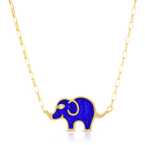 Large Elephant Necklace in Blue Pearlized Enamel Set on an 18 Karat Gold Chain