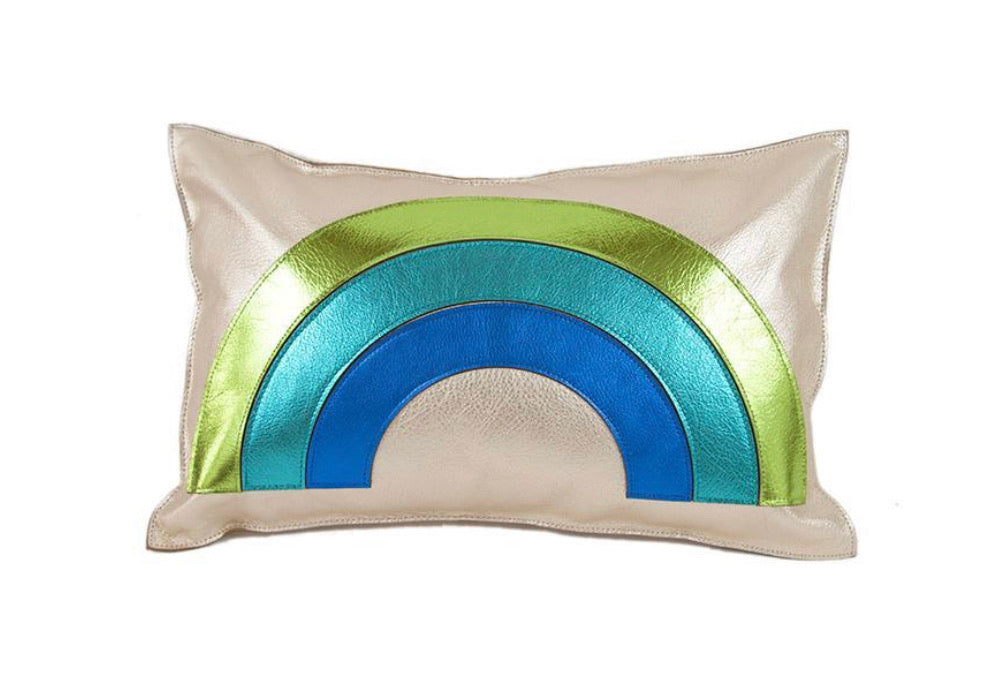 Rainbow Leather Pillow