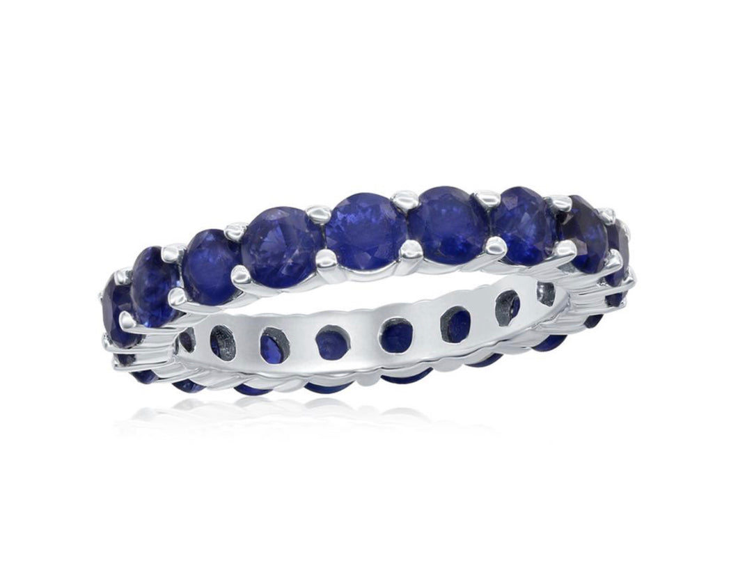 Sapphire Eternity Share Prong Ring