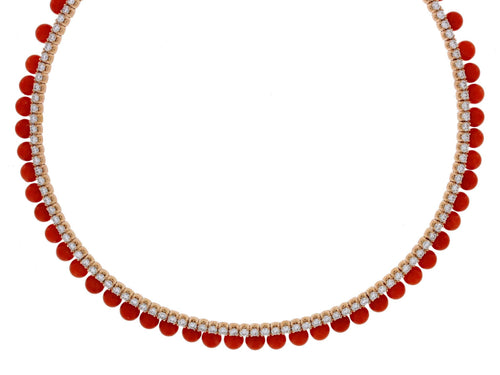 Coral Diamond Yellow Gold Necklace