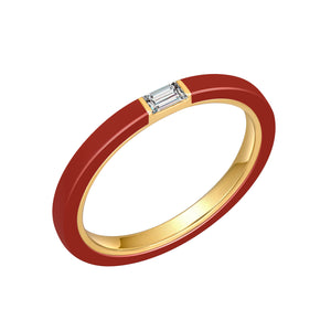 Red Ceramic Baguette Diamond Ring