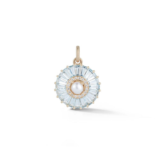 Gold Aquamarine Diamond & Pearl Emily Charm