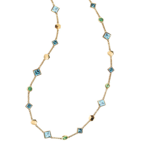 Blue Topaz and Tsavorite Florentine Necklace