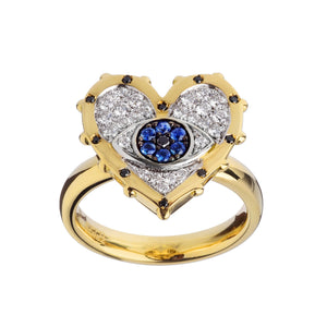 Evil Eye Heart Diamond Ring