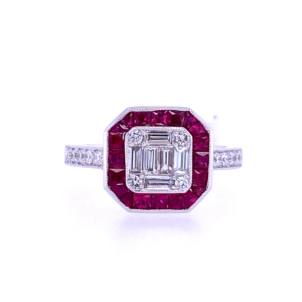 Diamond & Ruby Ilusion Ring