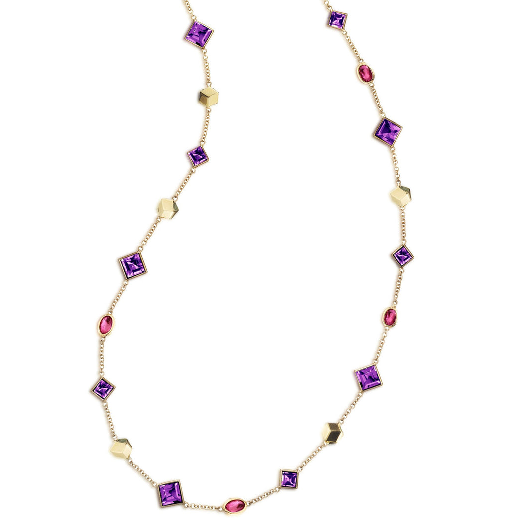 Amethyst and Ruby Florentine Necklace