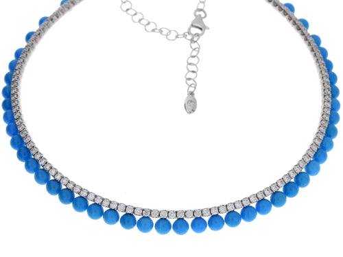 Turquoise Diamond White Gold Necklace