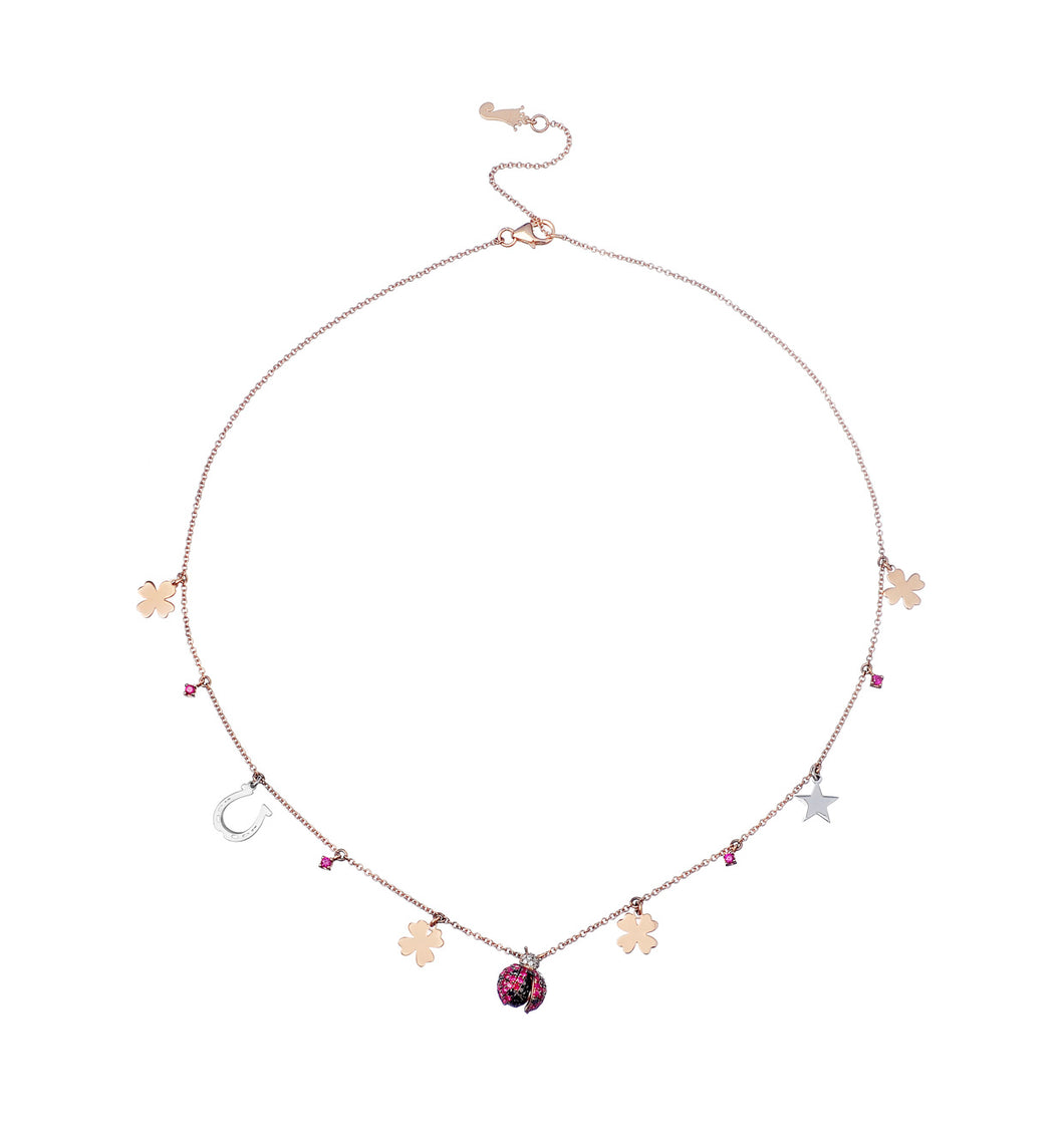 Lady Bug Rose Gold Necklace