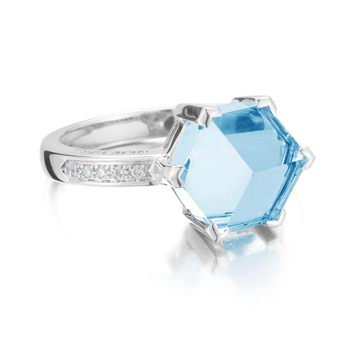 Blue Topaz White Gold Valentina Ring