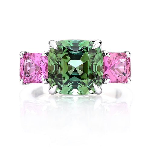 Gold Green and Pink Tourmaline Ring