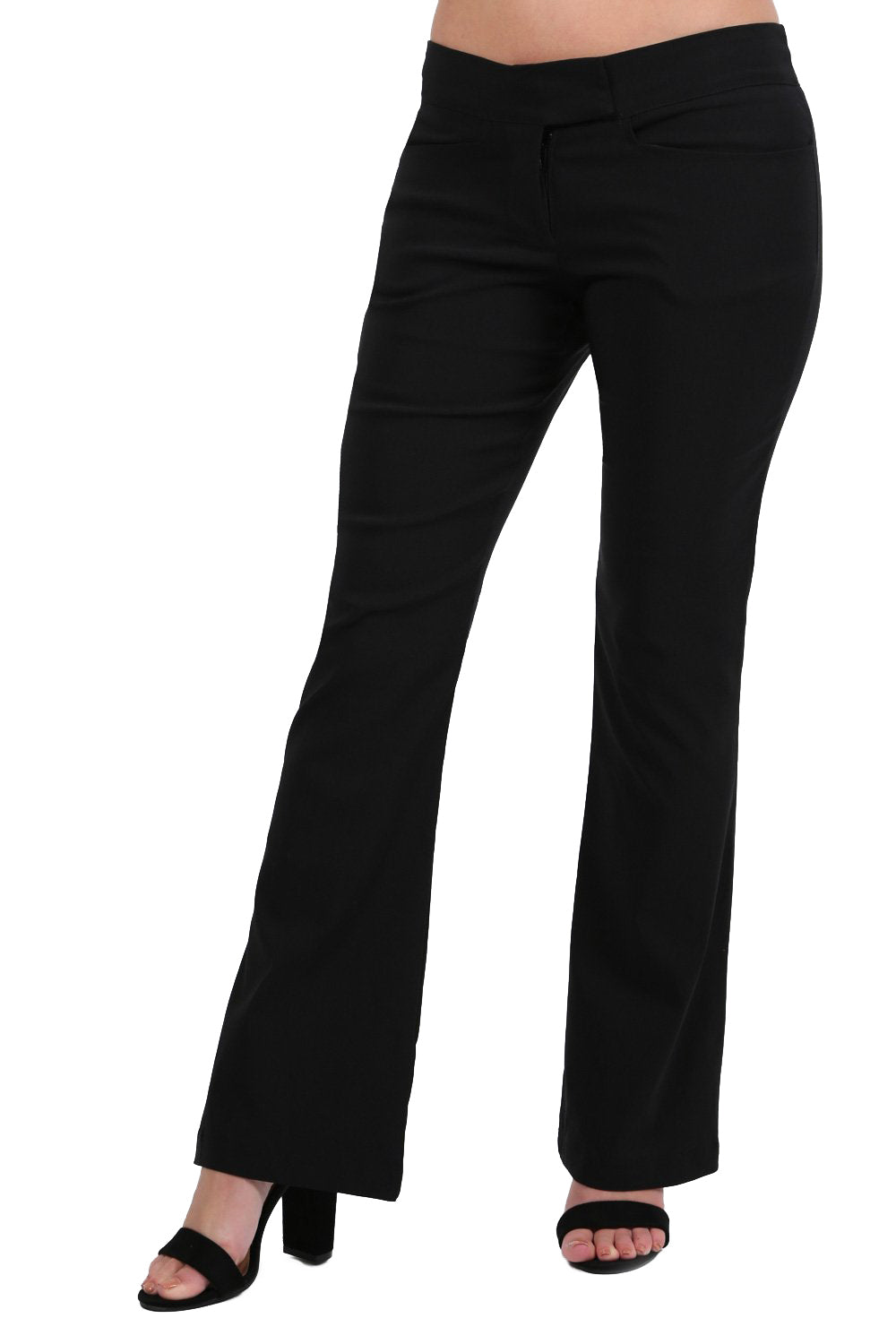 Extended Waistband Bootcut Leg Plain Trousers in Black
