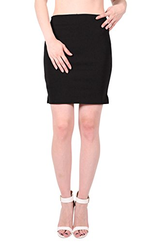 Stretch 19 Inch Side Split Skirt in Black