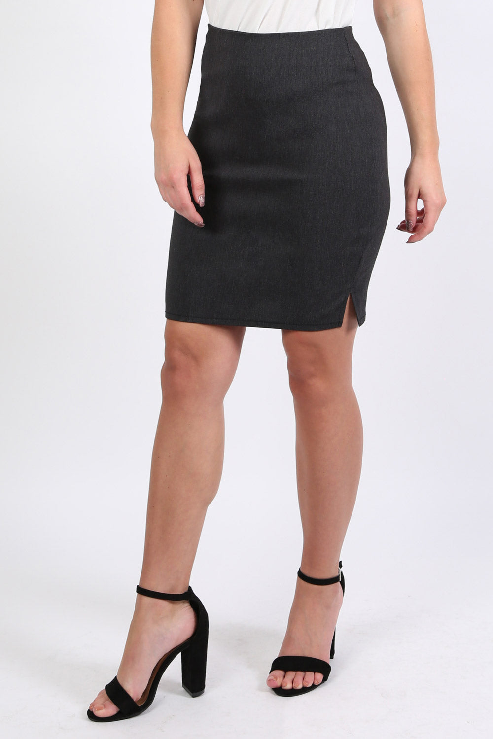Stretch 19 Inch Side Split Skirt in Grey 1