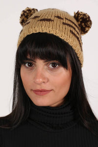 Animal Beanie in Brown MODEL FRONT