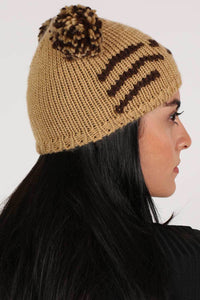 Animal Beanie in Brown MODEL SIDE