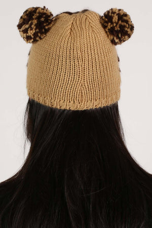 Animal Beanie in Brown MODEL BACK