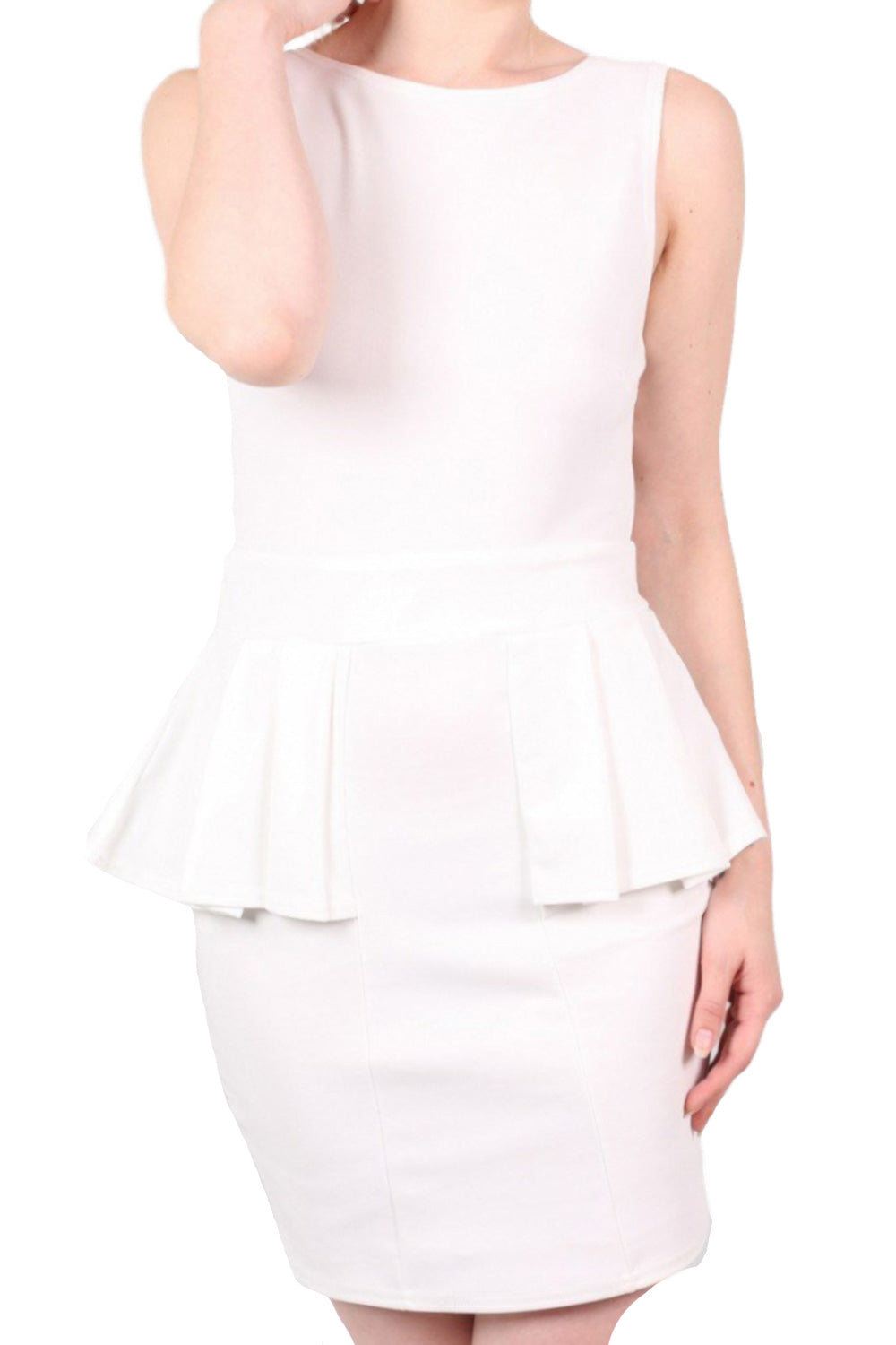 Low Back Peplum Dress in White