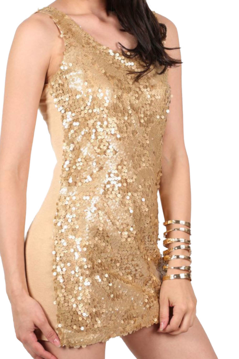 Sleeveless Sequin Front Short Tunic Dress in Gold