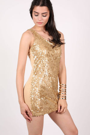 Sleeveless Sequin Front Short Tunic Dress in Gold MODEL FRONT