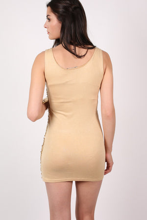 Sleeveless Sequin Front Short Tunic Dress in Gold MODEL BACK