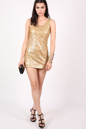 Sleeveless Sequin Front Short Tunic Dress in Gold MODEL FRONT 2