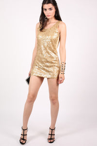 Sleeveless Sequin Front Short Tunic Dress in Gold MODEL FRONT 3