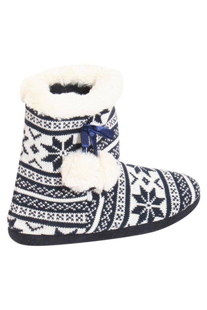 Raegan Fairisle Faux Fur Trim Slipper Boot in Blue BACK