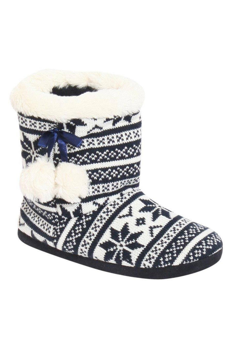 Raegan Fairisle Faux Fur Trim Slipper Boot in Blue FRONT