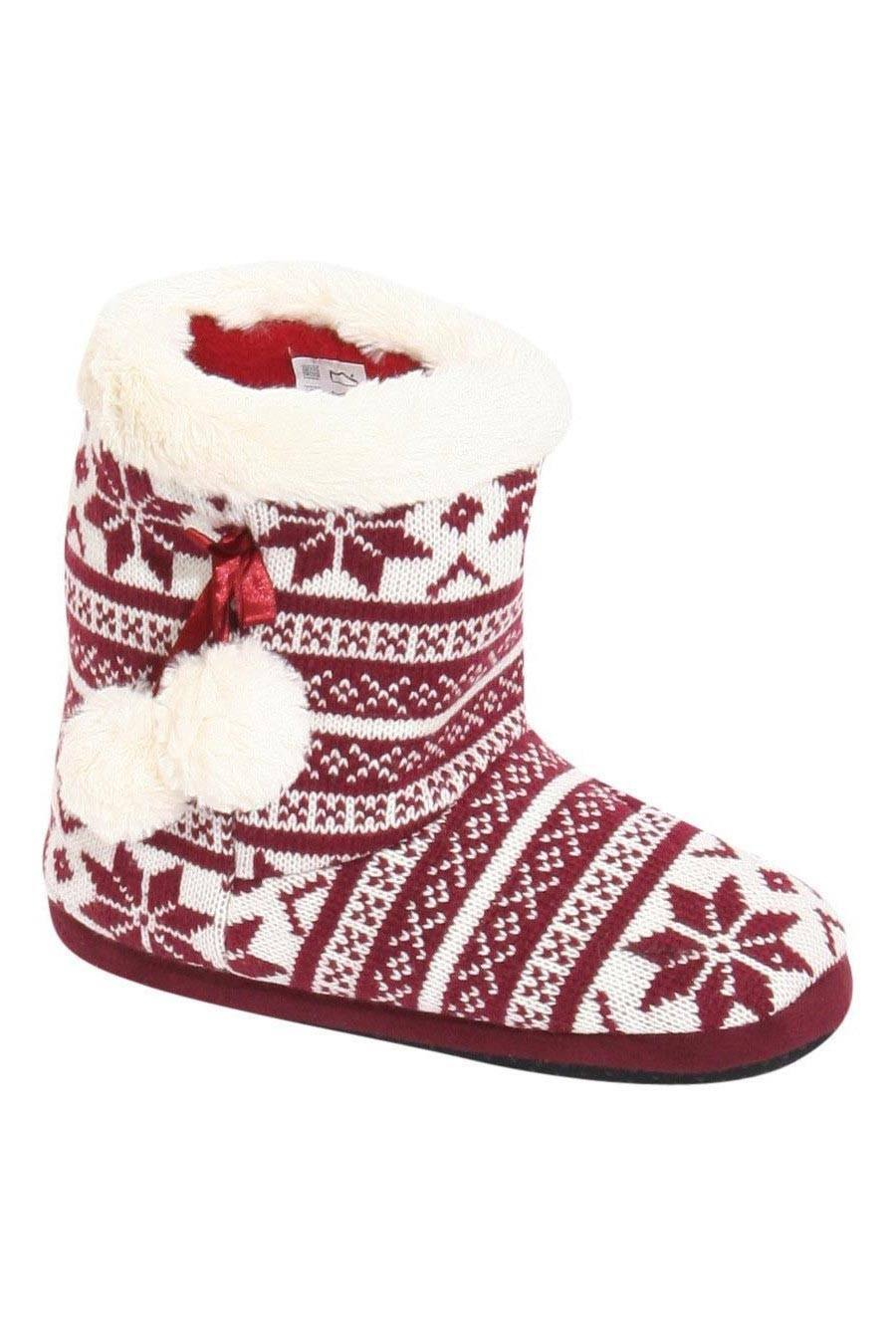 Raegan Fairisle Faux Fur Trim Slipper Boot in Red FRONT
