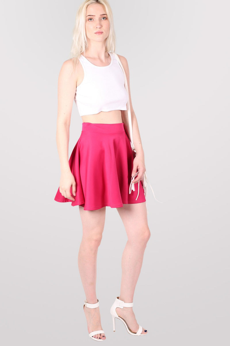 Scuba Skater Skirt in Pink Cerise MODEL FRONT