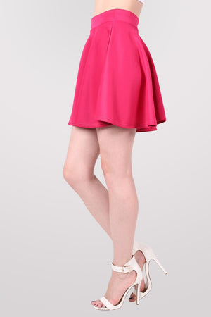 Scuba Skater Skirt in Pink Cerise MODEL SIDE