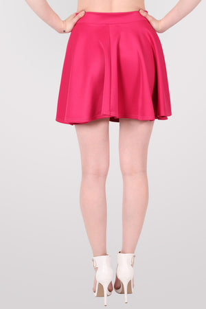 Scuba Skater Skirt in Pink Cerise MODEL BACK