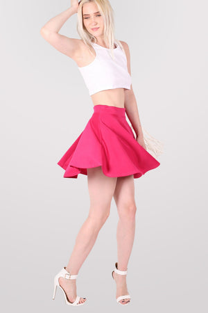 Scuba Skater Skirt in Pink Cerise MODEL FRONT 3