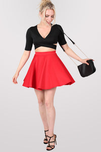 Scuba Skater Skirt in Red MODEL FRONT