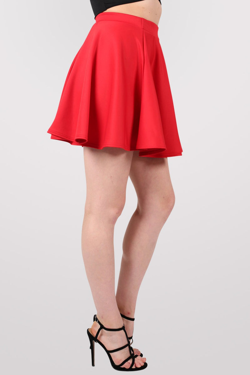 Scuba Skater Skirt in Red MODEL SIDE