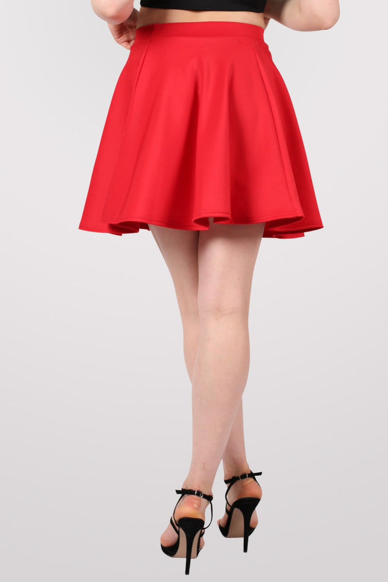 Scuba Skater Skirt in Red MODEL BACK