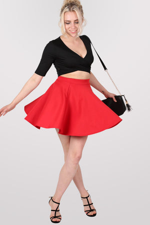 Scuba Skater Skirt in Red MODEL FRONT 3