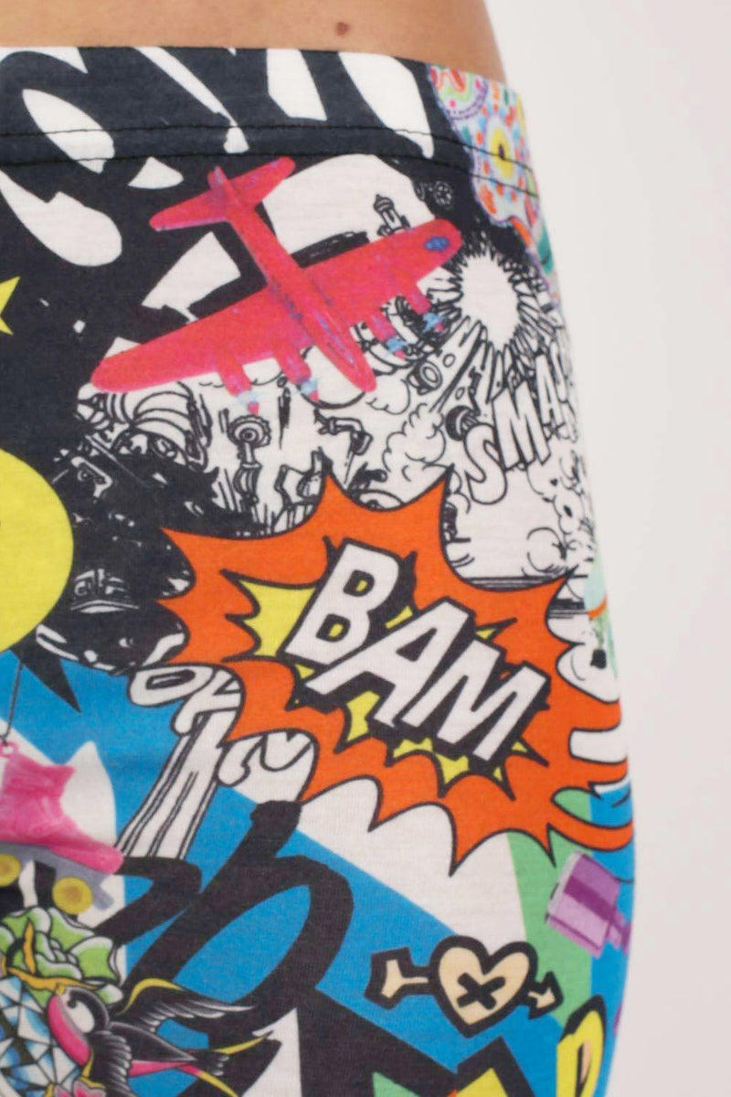 Smiley Cartoon Print Leggings in Multi Colour MODEL CLOSE UP
