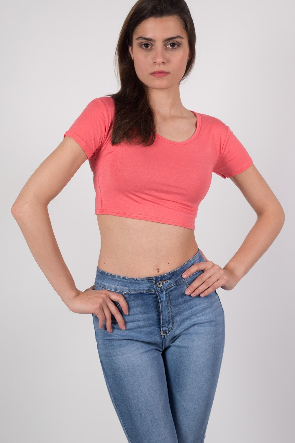Plain Cap Sleeve Crop Top in Coral MODEL FRONT