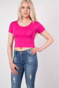 Plain Cap Sleeve Crop Top in Cerise Pink MODEL FRONT
