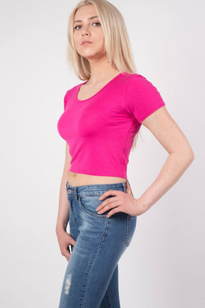 Plain Cap Sleeve Crop Top in Cerise Pink MODEL SIDE