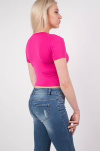 Plain Cap Sleeve Crop Top in Cerise Pink MODEL SIDE 2