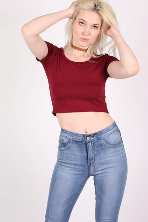 Plain Cap Sleeve Crop Top in Burgundy Red MODEL FRONT