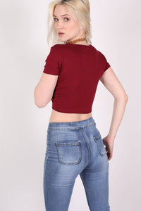 Plain Cap Sleeve Crop Top in Burgundy Red MODEL BACK