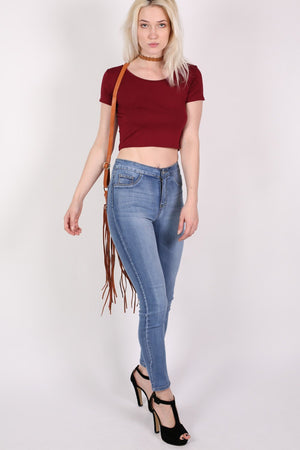 Plain Cap Sleeve Crop Top in Burgundy Red MODEL FRONT 3