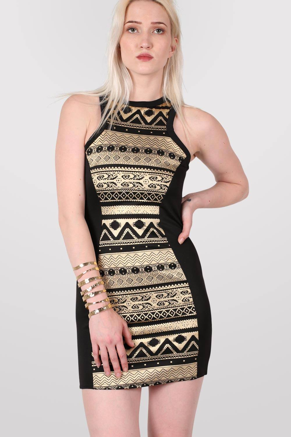 Gold Aztec Print Bodycon Party Dress in Black MODEL FRONT 2