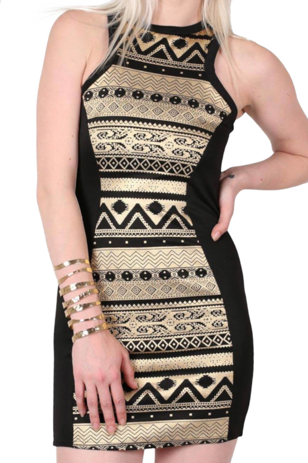 Gold Aztec Print Bodycon Party Dress in Black